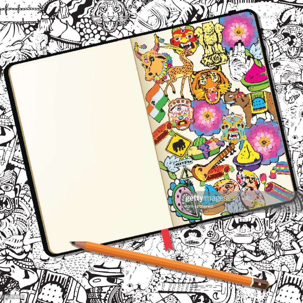Vector Notebook with Shadows and Hand Drawn Doodles. Hand Drawn Indian Symbols and Elements.