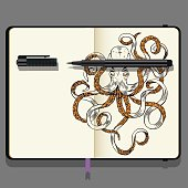 Vector Notebooks with Fine liner Pen and Hand Drawn Doodles. Hand-drawn illustration Octopus. Sea Life Theme.