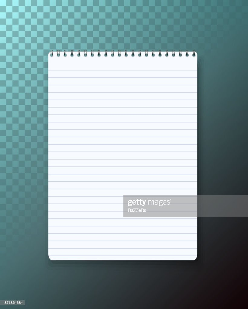 Vector Notepad on Transparent Background