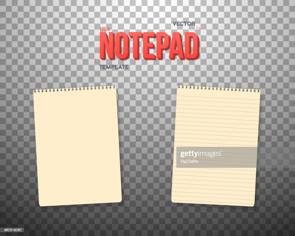 vector notepad template realistic vector blank notepad textbook