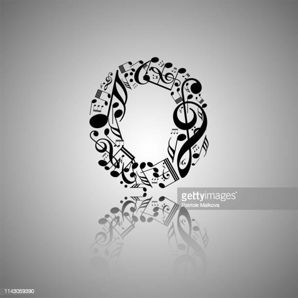 ベクトル番号0音符から作られた、音符から作られた数字のコレクション、音楽番号ゼロ - ゼロ点のイラスト素材/クリップアート素材/マンガ素材/アイコン素材
