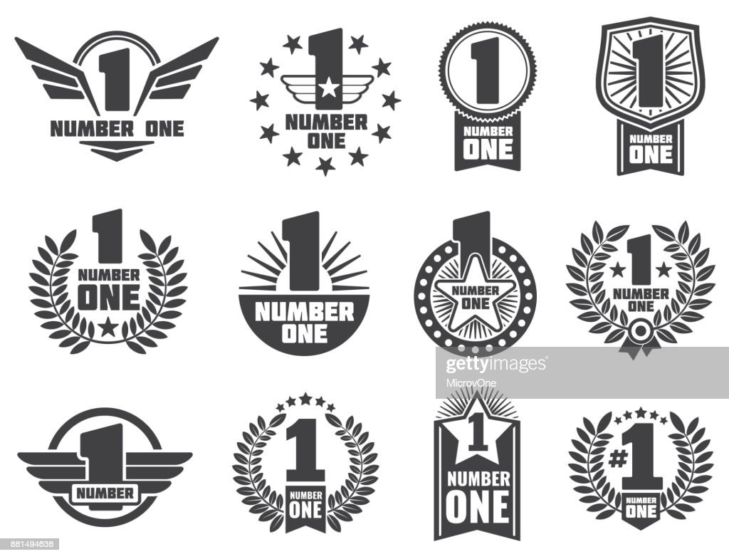 Vector number one retro corporate identity  labels