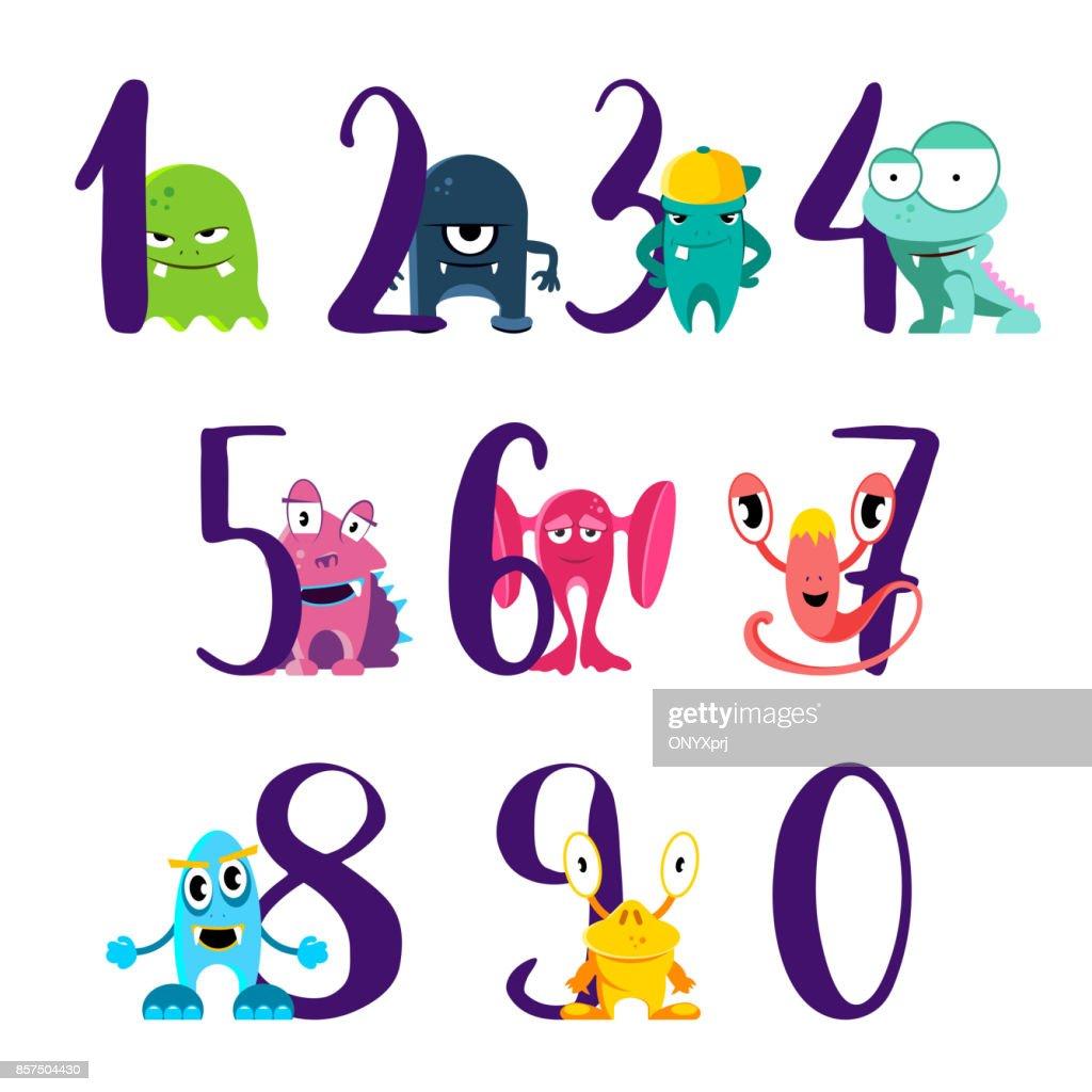 Vektornummern Für Happy Birthday Mit Niedlichen Cartoon Monster ...