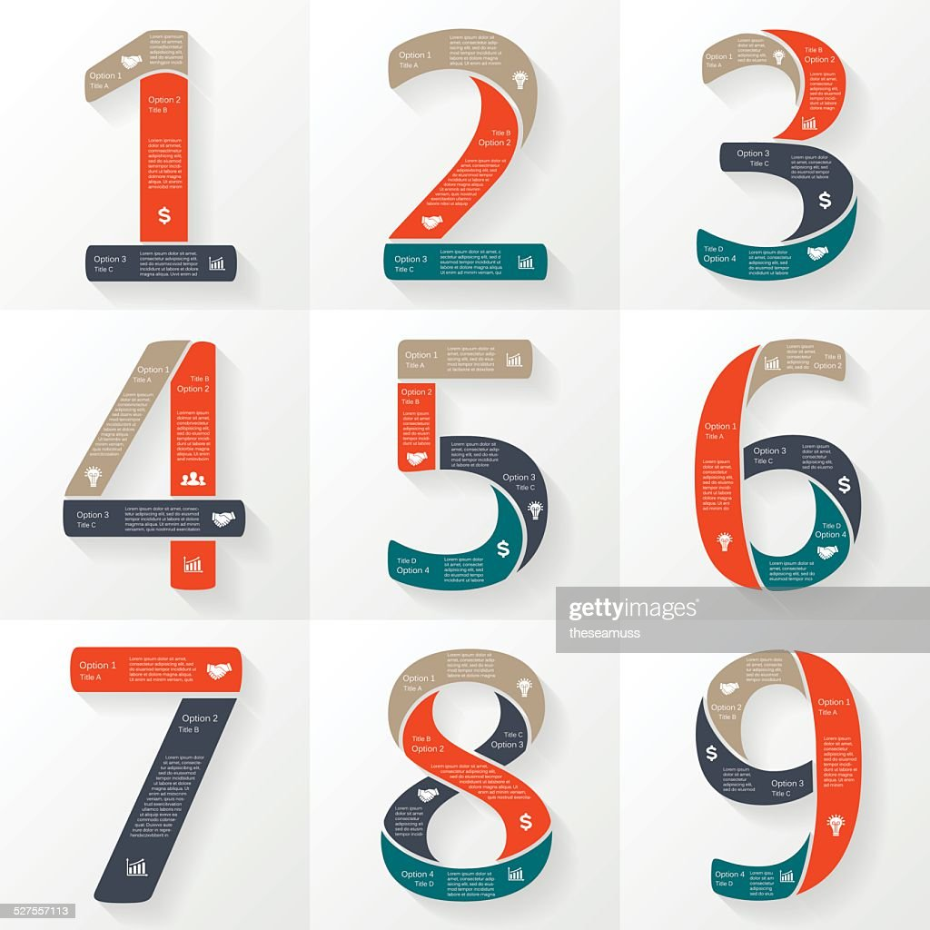 Vector numbers infographics, font diagrams.