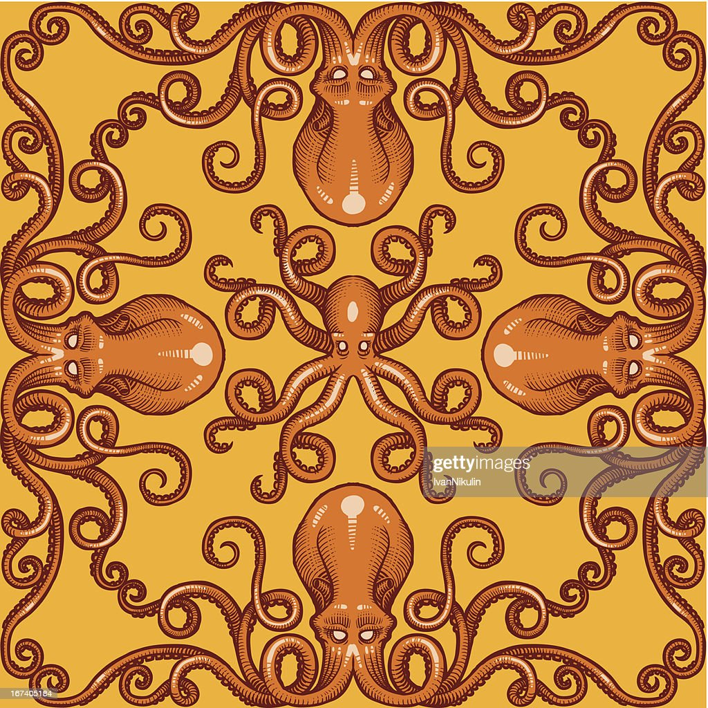 Vector octopus background pattern : Vector Art