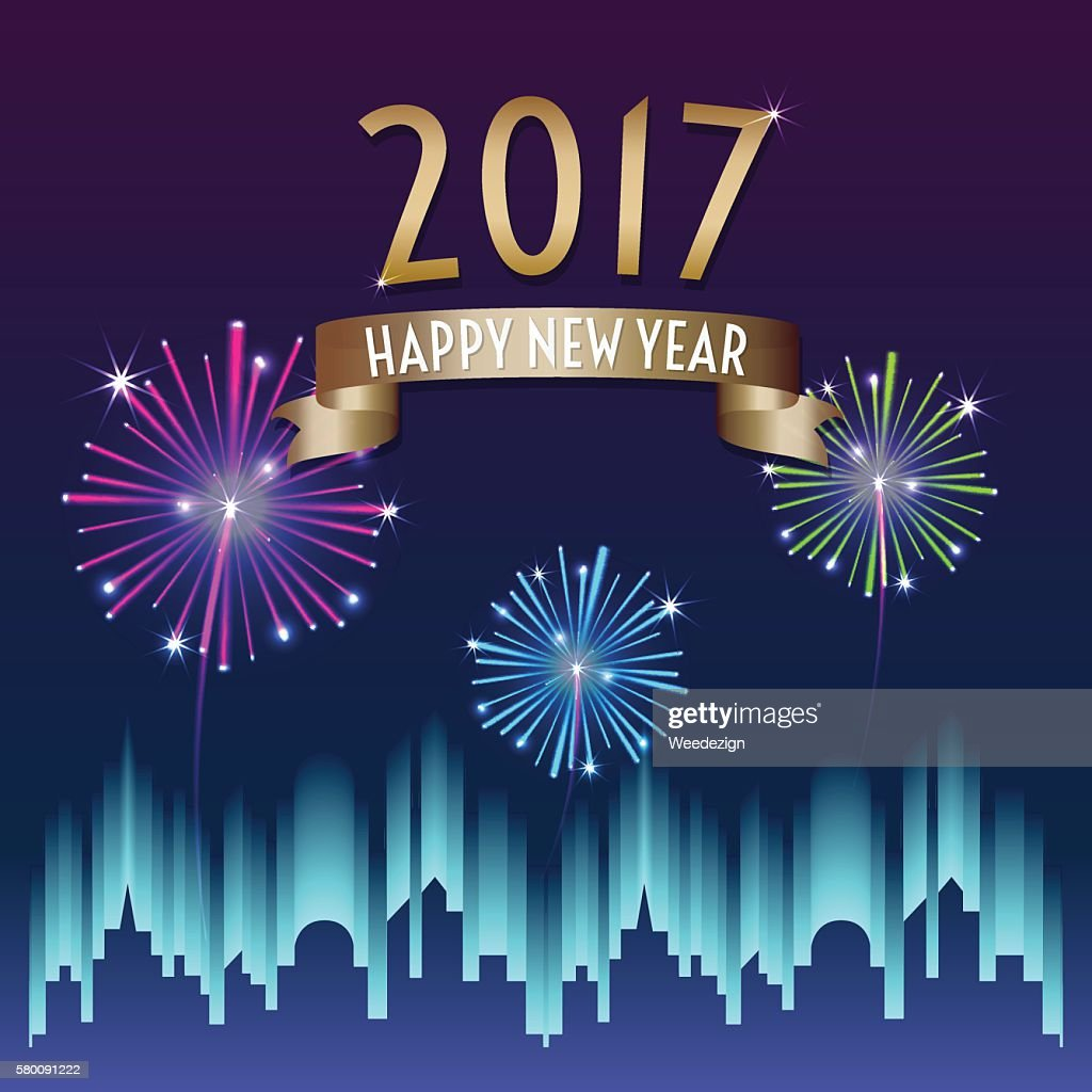 Vector of 2017 happy new year with ribbon and firework
