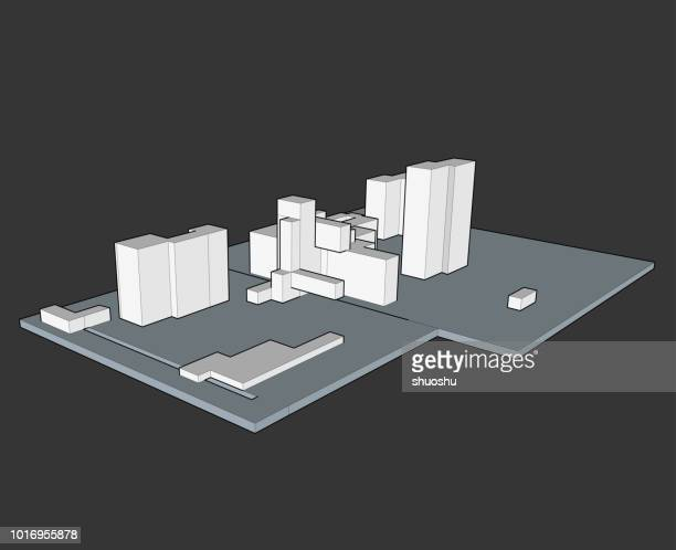 vector of 3d architecture model - model to scale stock illustrations, clip art, cartoons, & icons