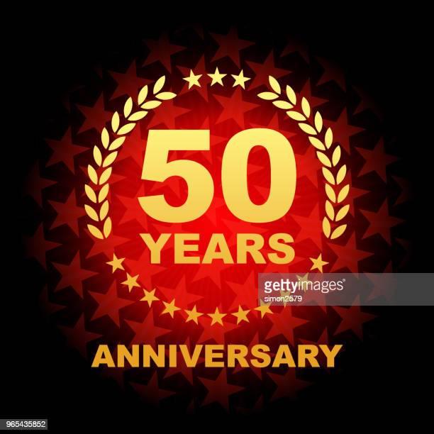 stockillustraties, clipart, cartoons en iconen met vijftig jaar verjaardag pictogram met een rode achtergrondkleur stervorm - 50 jarig jubileum