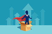 Vector of a businessman corporate employee as a super hero thinking outside the box