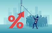 Vector of a businessman pulling up a percentage symbol