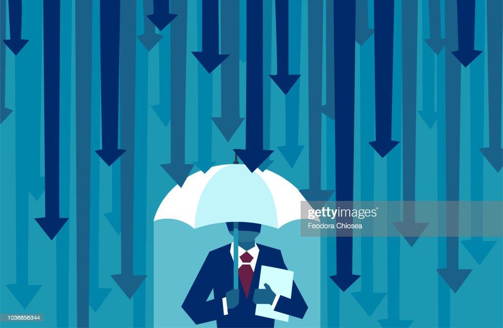 Vector of a businessman with umbrella resisting protecting himself from falling arrows : stock illustration