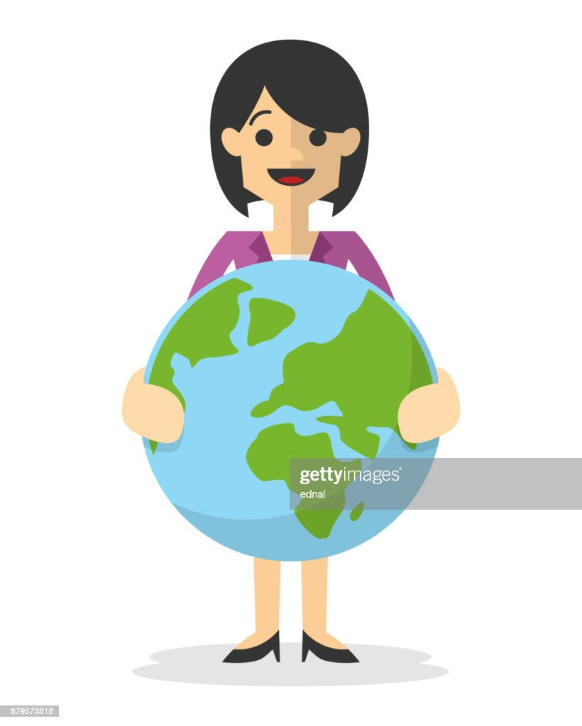 Vector of a businesswoman smiling, holding earth icon
