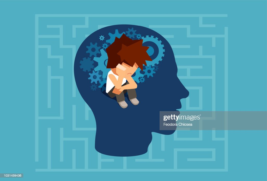 Vector of a child subconscious mind of an adult man concept : stock illustration