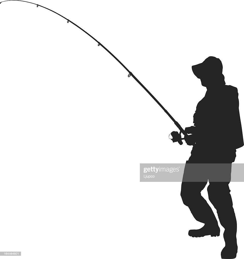 Vector of a fisherman holding fishing pole