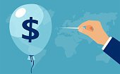 Vector of a hand with needle pierces the balloon with dollar sign