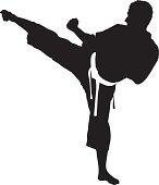 Vector of a karate man exercising