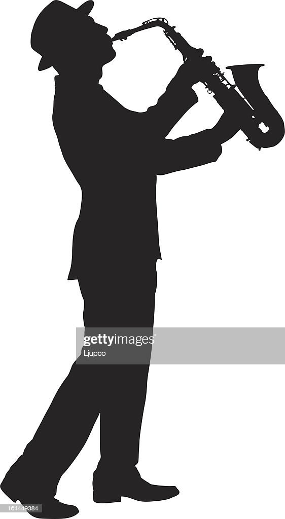 Vector of a man playing on saxophone