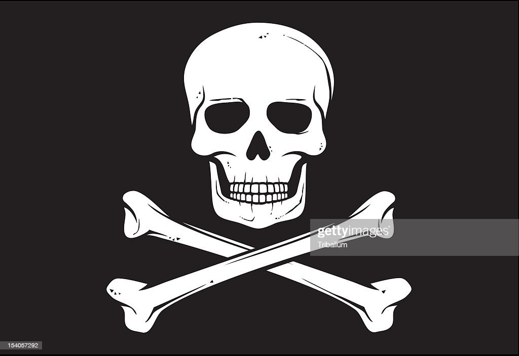 Vector of a pirate flag with solid colors