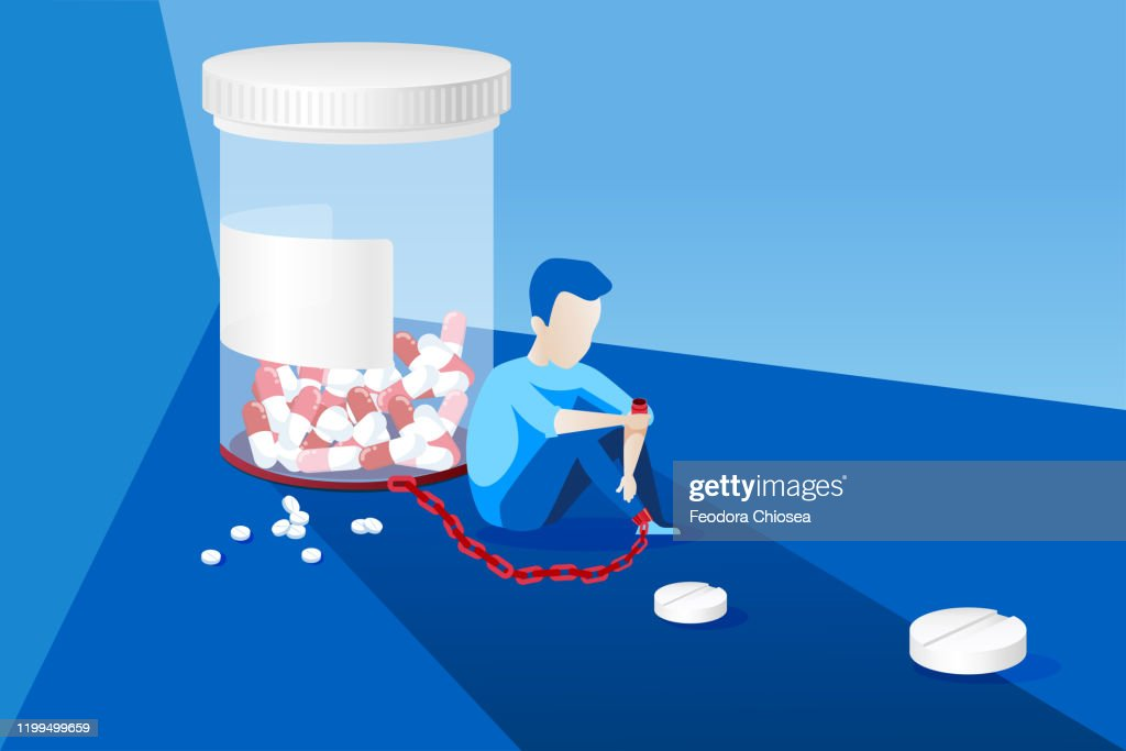 Vector of a sick man with painkiller addiction chained to the bottle of pills : stock illustration