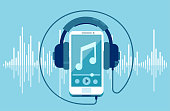 Vector of a smart phone and headphones