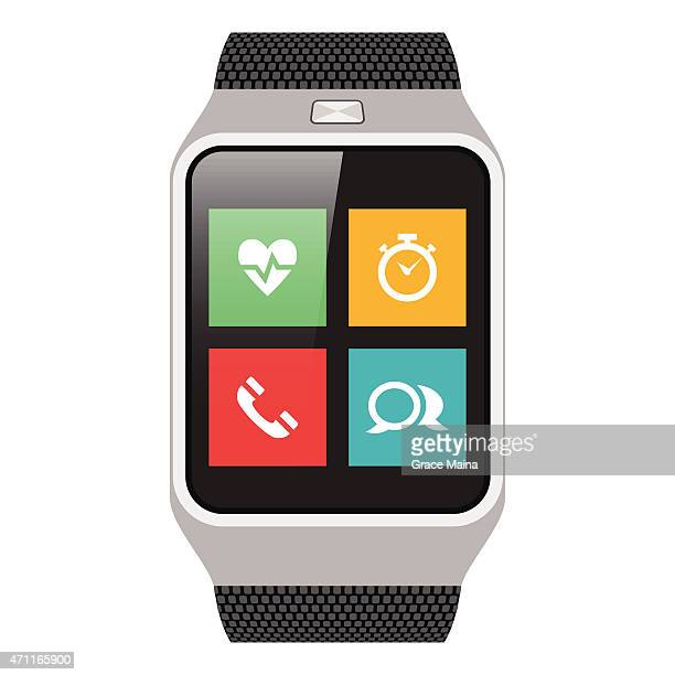 vector of a smart watch with four icons on the watch face - smart watch stock illustrations