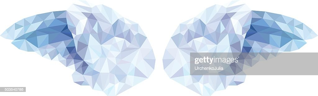 Vector of angel wings in the style of a low poly
