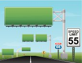 Vector of blank green highway signs with speed limit of 55