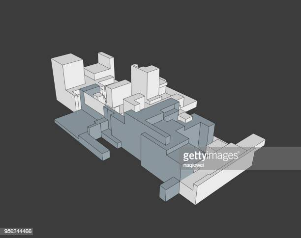 vector of building structure model - model to scale stock illustrations, clip art, cartoons, & icons