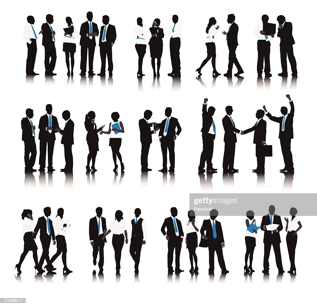 Vector of Business People in a Row Working