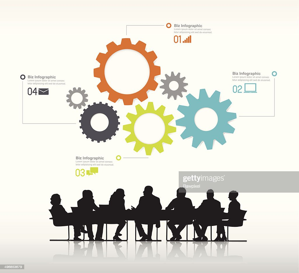 Vector of Business People Meeting and Gear Symbols