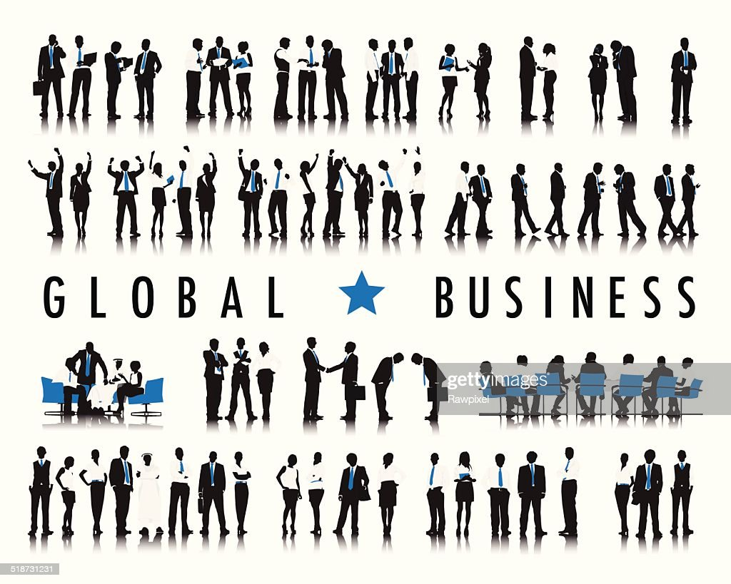 Vector of Business People with Word Global Business