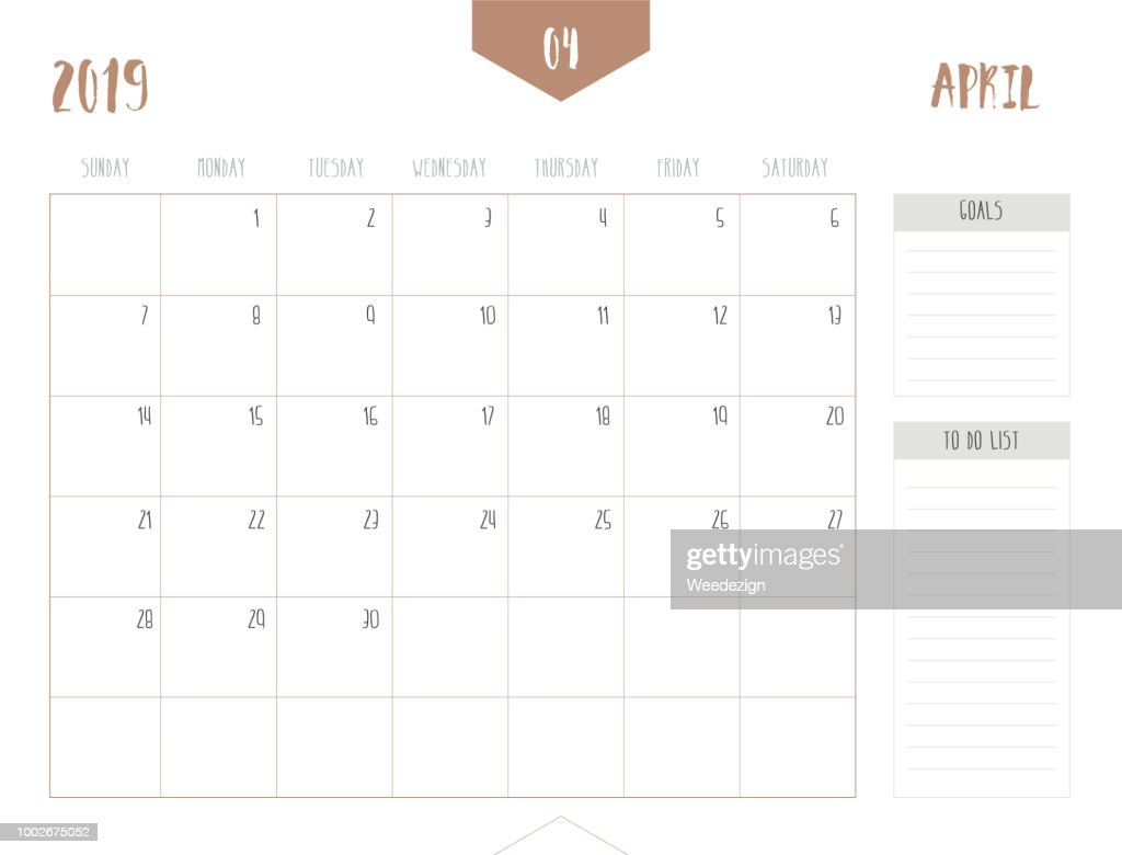 Vector of calendar 2019 ( April ) in simple clean table style with goals and to do list box; full size 21 x 16 cm; Week start on Sunday