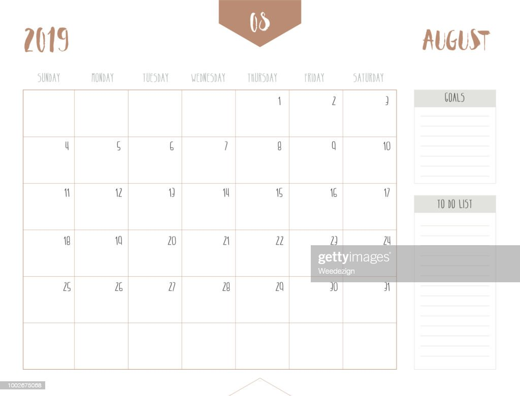 Vector of calendar 2019 ( August ) in simple clean table style with goals and to do list box; full size 21 x 16 cm; Week start on Sunday.