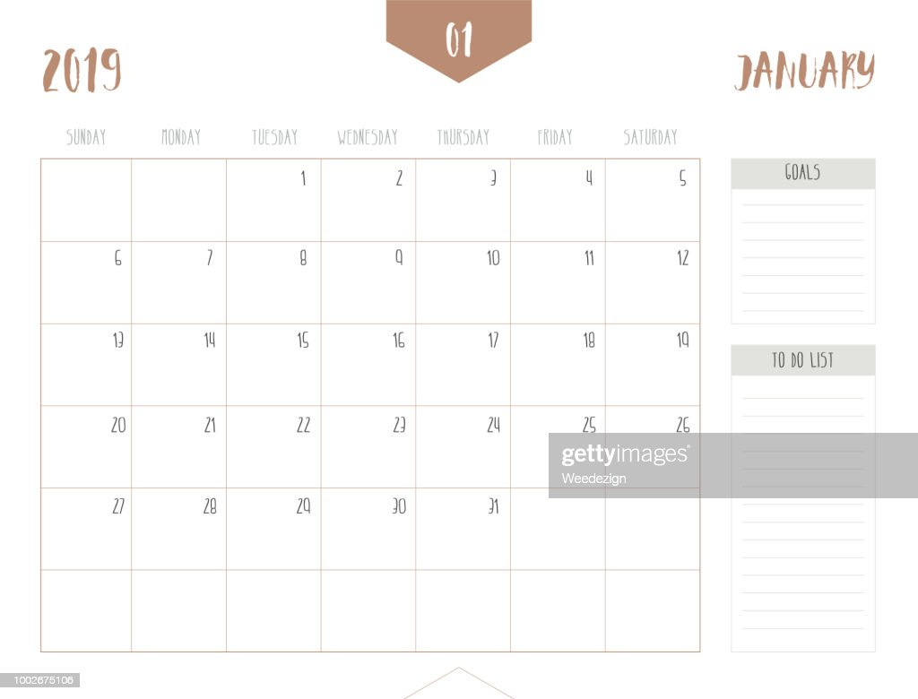 Vector of calendar 2019 ( January ) in simple clean table style with goals and to do list box; full size 21 x 16 cm; Week start on Sunday.
