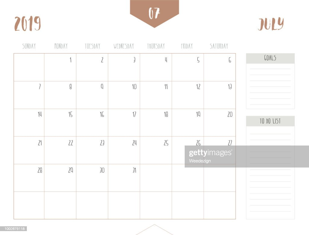 Vector of calendar 2019 ( July ) in simple clean table style with goals and to do list box; full size 21 x 16 cm; Week start on Sunday.