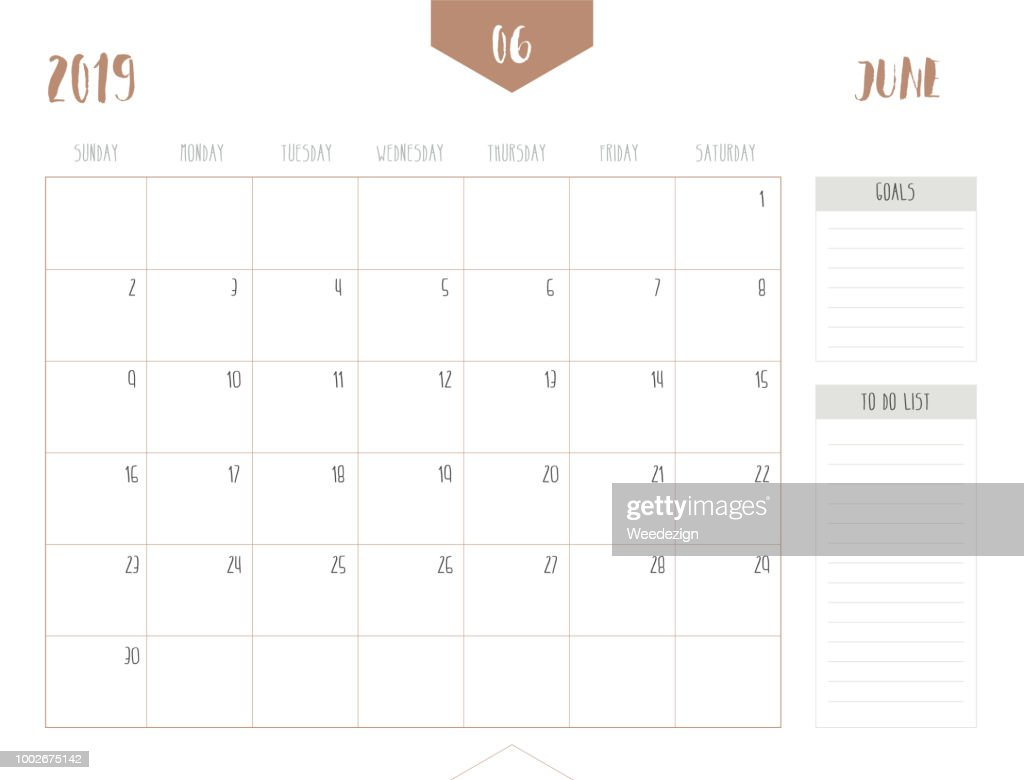 Vector of calendar 2019 ( June ) in simple clean table style with goals and to do list box; full size 21 x 16 cm; Week start on Sunday.
