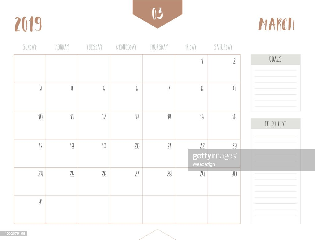 Vector of calendar 2019 ( March ) in simple clean table style with goals and to do list box; full size 21 x 16 cm; Week start on Sunday