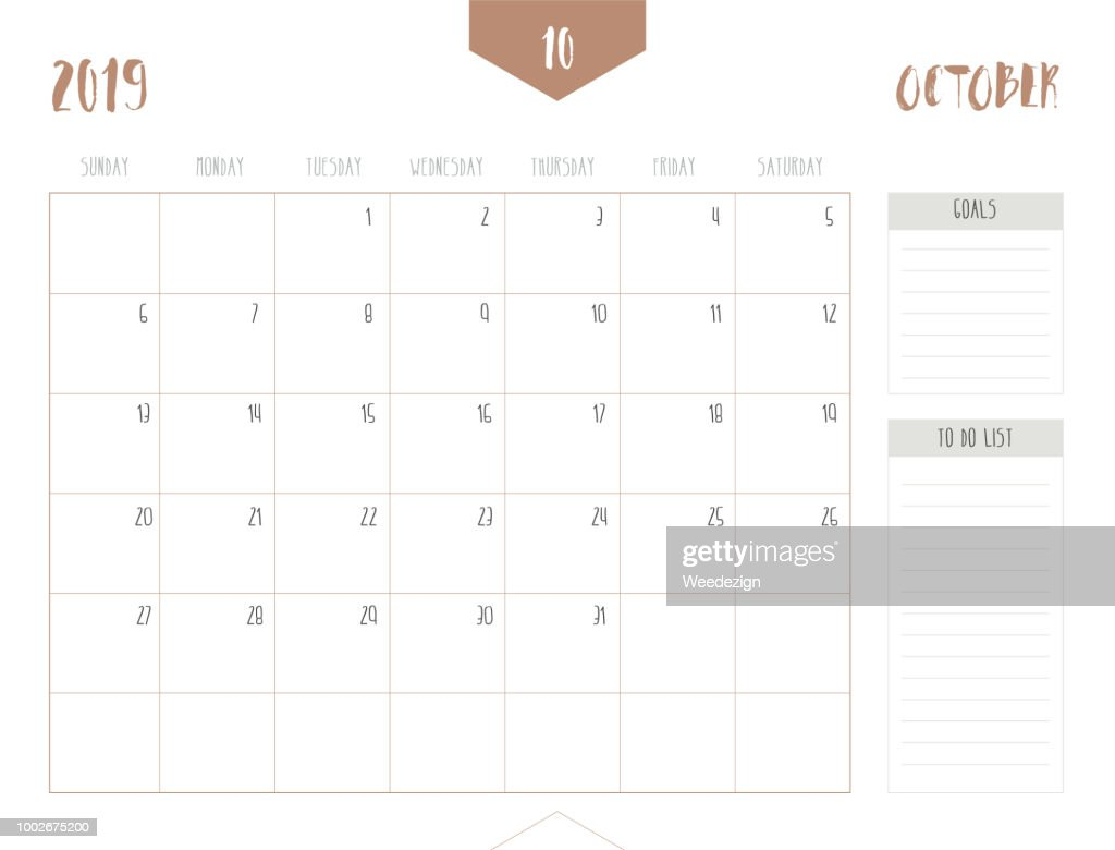 Vector of calendar 2019 ( October ) in simple clean table style with goals and to do list box; full size 21 x 16 cm; Week start on Sunday.