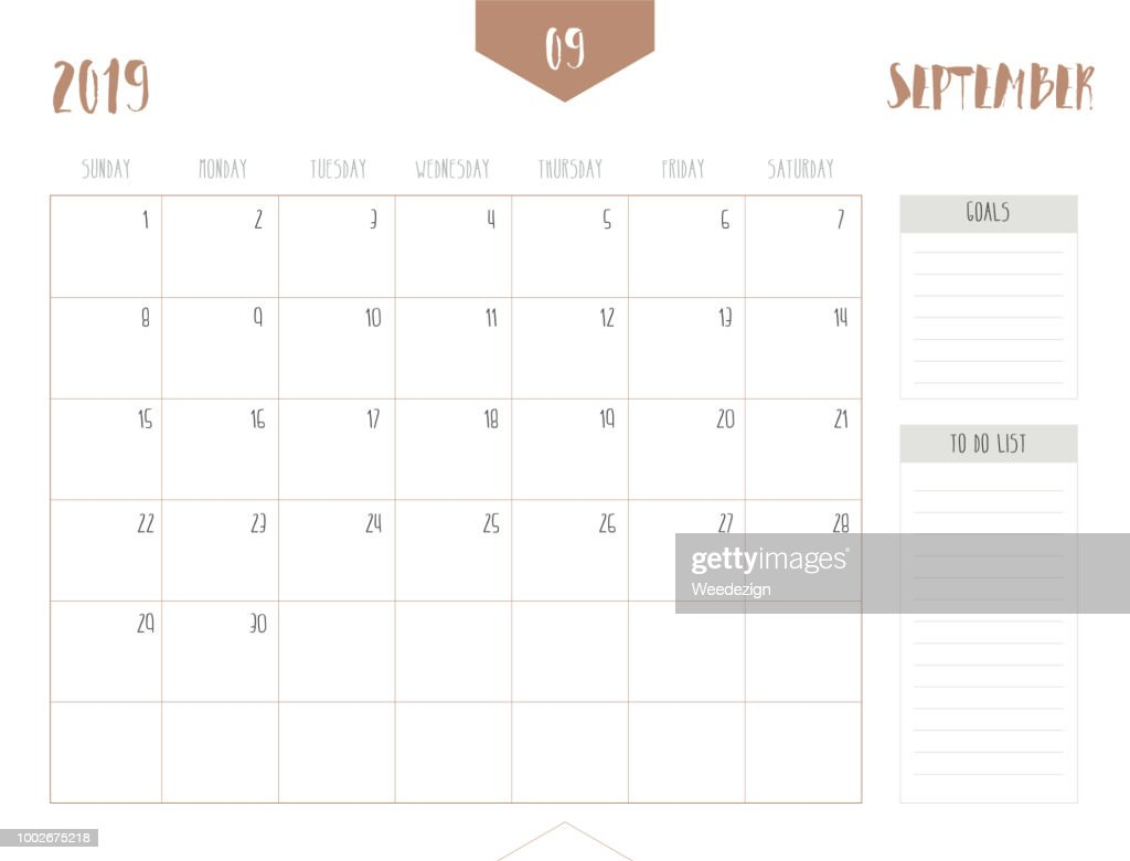 Vector of calendar 2019 ( September ) in simple clean table style with goals and to do list box; full size 21 x 16 cm; Week start on Sunday.