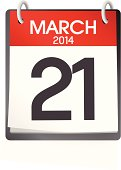 Vector Of Calendar March 21st 2014