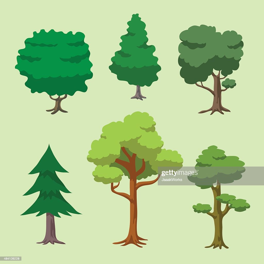 Vector of Cartoon Tree Set