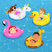 Vector of children floating on inflatable in shapes of unicorn, duck, flamingo, giraffe