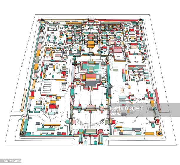 vector of color forbidden city illustration style map - china east asia stock illustrations