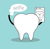 Vector of Cute white tooth taking selfie