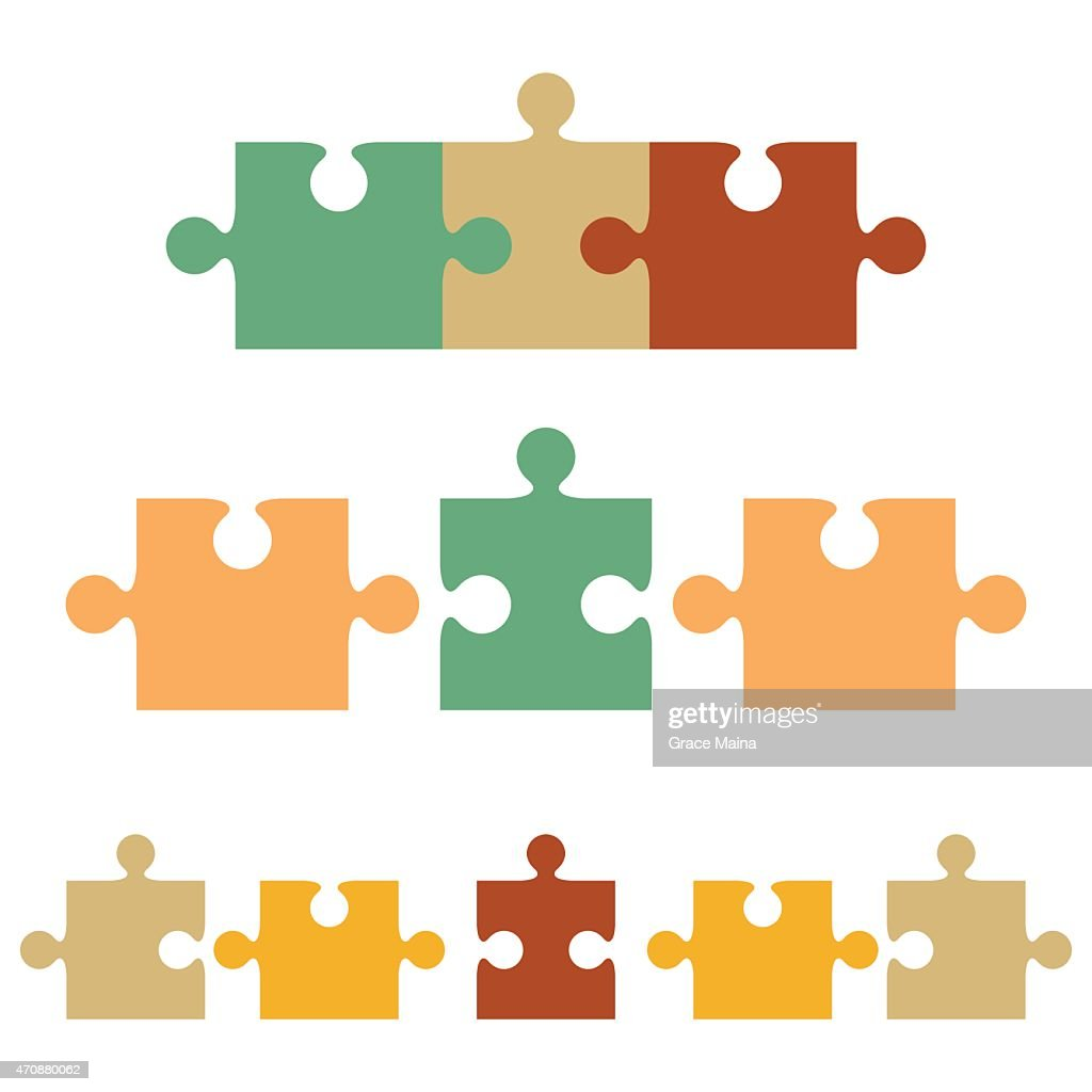 Vector Of Different Color Jigsaw Puzzle Pieces Art