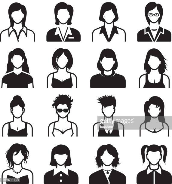vector of female body types, black on white - goth stock illustrations, clip art, cartoons, & icons