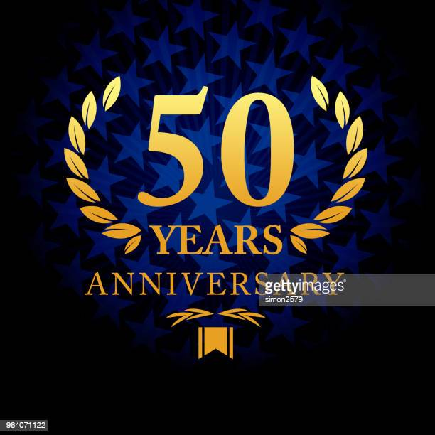 Fifty years anniversary icon with blue color star shape background