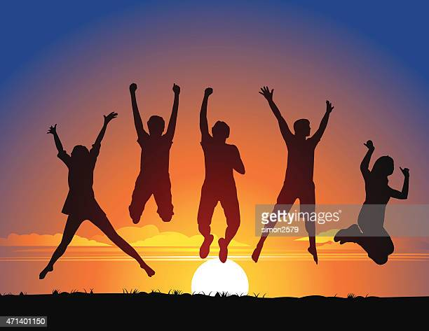 Vector of five people jumping at sunset
