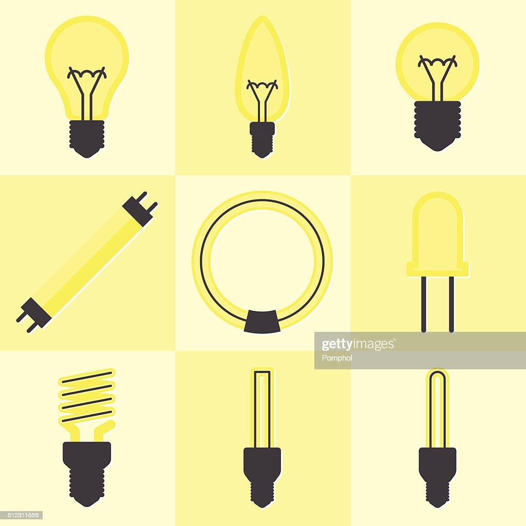 Vector of flat icon, light bulb set
