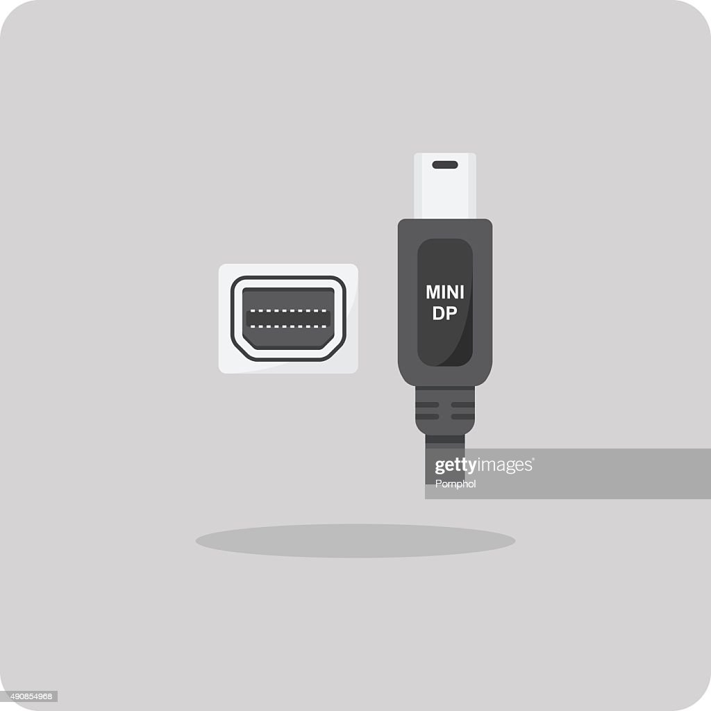 Vector of flat icon, mini display port connector